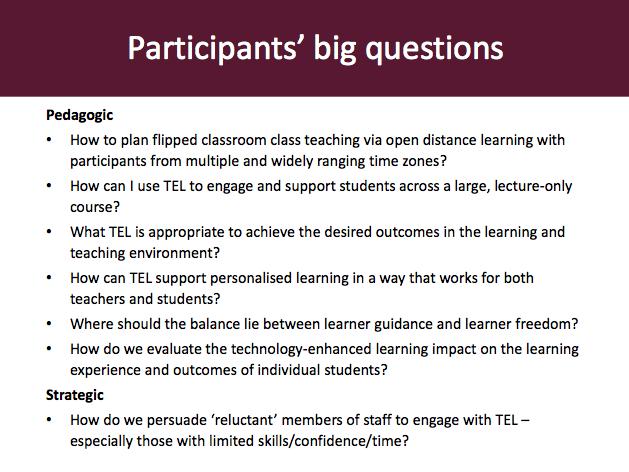 Participants' big questions